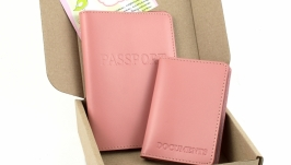 Набор №4 (розовый): обложка на паспорт и обложка на права