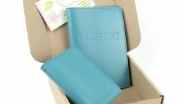 Набор №4 (голубой): обложка на паспорт и обложка на права