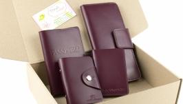 Набор №11 (бордовый): обложка на паспорт, права, картхолдер, кошелек