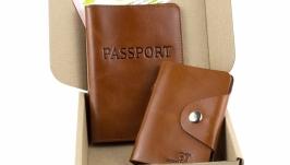 Набор №6 (рыжий): обложка на паспорт и картхолдер