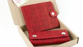Набор №8 (красный): портмоне П1 и ключница