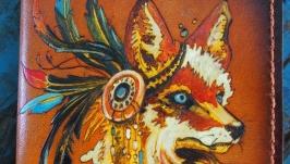 Кожаная обложка на паспорт Рыжая лиса