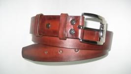 014  U R 38 Красный кожаный ремень 38 мм с литой никелированной пряжкой