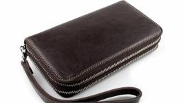 Клатч мужской кожаный CREZ (коричневый гладкий)