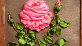 Вышивка лентами. Картина роза