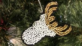Брошь рождественский олень