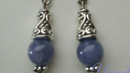 Серьги из натурального камня авантюрин Принцесска в голубом