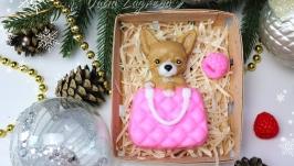 Новогоднее мыло Собачка в сумке