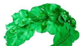 Зелений обруч для волосся із листям
