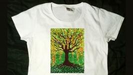 Эксклюзивная футболка. Древо жизни. Авторская картина.