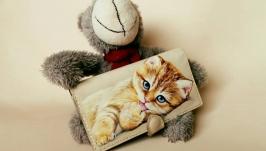 Женский кошелёк, с ручной росписью ′Котёнок′