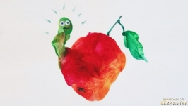 Яблоко - ладошками. Рисование ладошками. Как нарисовать яблоко