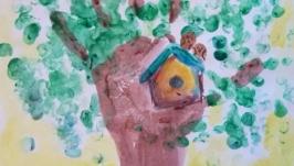 Дерево - долоньками. Малювання долоньками. Як намалювати дерево