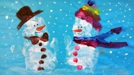 Снеговик - ладошками. Рисование ладошками. Как нарисовать снеговика