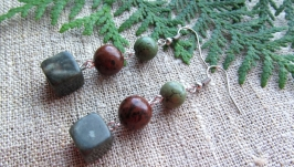Сережки ( яшма, обсидіан)