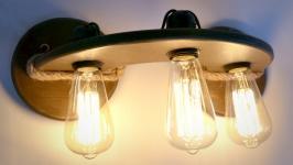 Деревянная бра с лампами эдисона, лофт стиль, настенный светильник