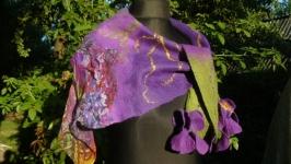 Валяная шаль бактуc с цветами из шерсти мериноса