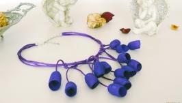 Колье из коконов шелкопряда, уникальное ожерелье