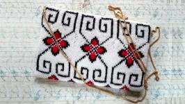 клатч в′язаний Баранячі Ріжки, українська вишивка, вишита сумка