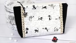 Косметичка черно-белые котики