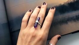 Серебряное кольцо с аметистом для женщин