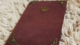 Замшевый блокнот Корона (вишневый, бордо)