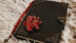 Кожаный блокнот Красная роза