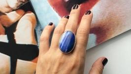 Кольцо с натуральным синим агатом
