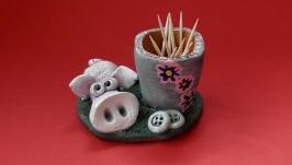 Подставка Свинка для зубочисток