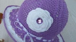 Летняя вязаная шляппа для девочеки. РУЧНАЯ РАБОТА