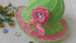 Летняя вязаная шляпка для девочки. РУЧНАЯ РАБОТА