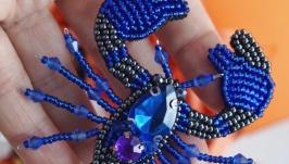 Брошь Скорпион синий