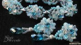 Плетеные серьги-гвоздики в комплект к браслету ′Лотос′