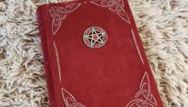 красный замшевый гримуар Пентаграмма, блокнот для записей
