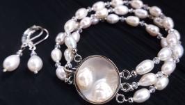 Браслет з натуральних перлів трьохрядний
