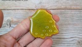 Брошь из натурального листочка берёзы в ювелирной смоле.