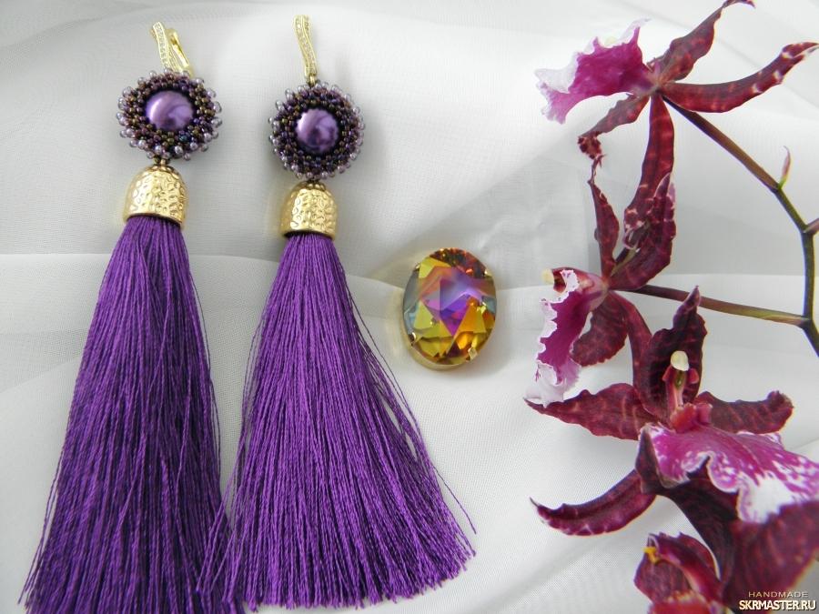 тут изображено Серьги-кисти ′Пурпурное солнце′