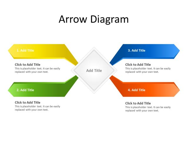 PowerPoint Slide - Arrow Diagram - 4 Arrows - Multicolor
