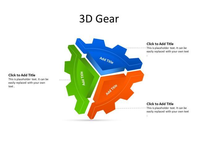 PowerPoint Slide - Gear Diagram - 3 gears - Multicolor