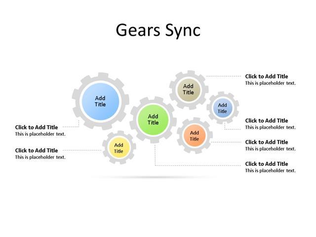 PowerPoint Slide - Gear Diagram - 6 Gears - Multicolor