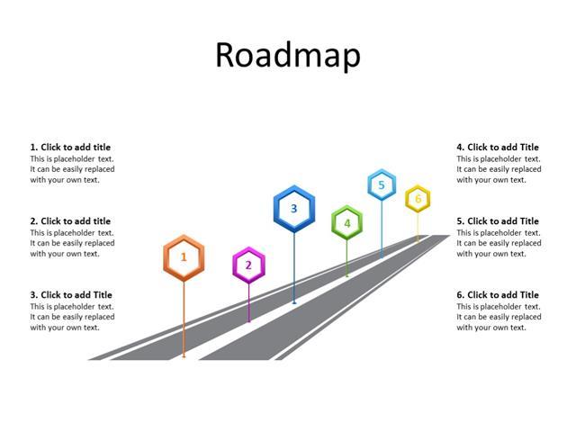 PowerPoint Slide - Timeline Diagram - 6 milestones - Multicolor