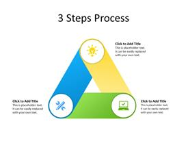 3 steps diagram in triangular shape with icons