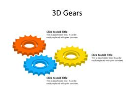 Three 3D multicolor Gears in sync showing process
