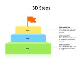 3D stairs diagram as different steps and success flag at top