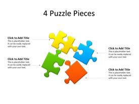 Four different colored puzzles lying together