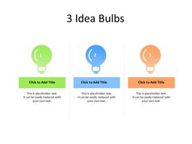 3 different idea bulbs in sequence