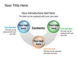 PowerPoint Slide - This PowerPoint diagram slide is a half Doughnut containing 3 elements.