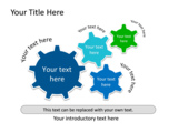 PowerPoint Slide - This PowerPoint slide is a Connection Diagram with gear shapes. You can add or reduce the number of processes.