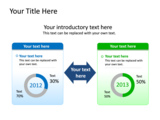 PowerPoint Slide - This PowerPoint diagram slide shows opposing views as text boxes and data driven doughnut charts .