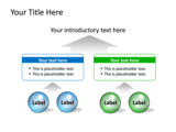 PowerPoint Slide - This PowerPoint diagram slide shows stylish spheres and text boxes to show how factors can funnel up to an outcome or result.